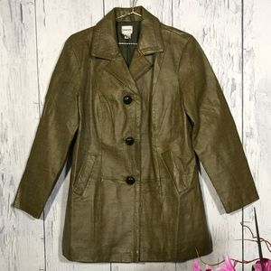 Chico's Forest Green Genuine Embossed LeatherCoat